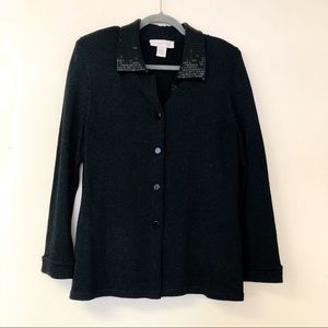 Doncaster wool blend cardigan beaded collar